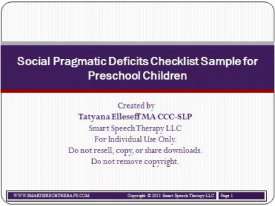 SPD preschool checklsit sample
